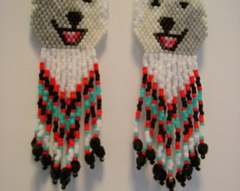 Hand Beaded  Laughing White wolf, Husky, Alaskan malamute dog earrings with red & turquoise in fringe