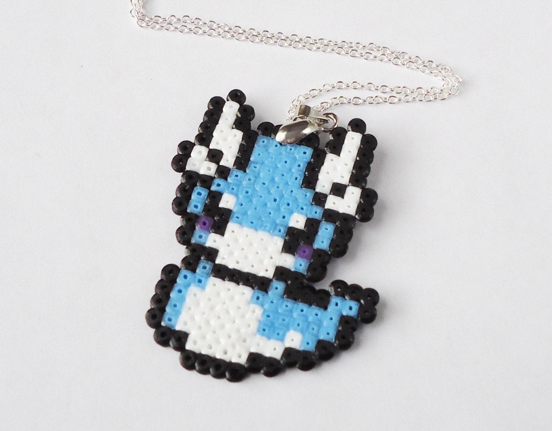 pixel dratini necklace hama perler bead by