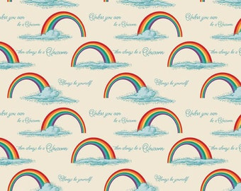 Unicorns & Rainbows Cream Poster by Doohikey Designs for Riley Blake ON SALE