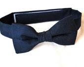 Navy blue bow tie plain baby child toddler kids smart midnight dark formal neck tie velcro wedding kids accessories neutral suit fathers day