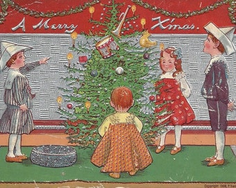 Great Antique Circa 1908 CHRISTMAS POSTCARD - Children Gathered by Christmas Tree - Toys - Embossed - Foil - 100+ years old - Edwardian - PC