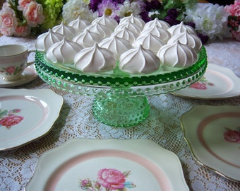 L. E. Smith Green Hobnail Cake Stand - Green Glass Cake Stand - Smith Hobnail Cake Stand - Holiday Cake Stand - Easter Cake Stand