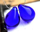 Dark Blue Teardrops, czech glass, large Briolettes, beads pair, blue glass beads - 15x20mm - 2Pc - 0465