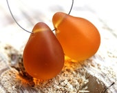 Matte Amber Topaz Teardrops, czech glass, yellow honey large Briolettes, beads pair - 12x18mm - 2Pc - DP81