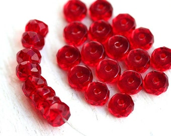 Red Rondelle beads Czech glass fire polished rondels faceted spacers - 6x3mm - 25Pc - 1338