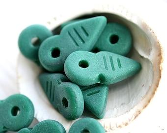 Arrow beads - Seaglass Green, matte finish - czech Glass beads, Pointer Beads, 19x9mm - 10Pc - 1123
