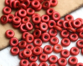 Red Spacer beads, czech glass, O-beads - Cranberry Red - 4x2mm, round, spacers - 5gr - 1421