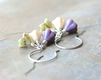 Glass Flower Earrings: Green, Purple, and Cream Czech Glass Clusters with Sterling Silver