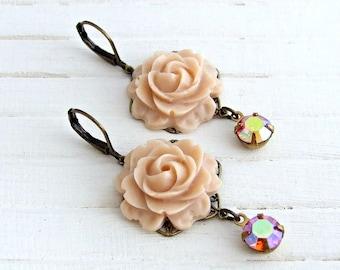 Peach Rose Earrings .. rose dangle earrings, vintage style earrings, angelskin earrings, flower earrings, vintage glass drops