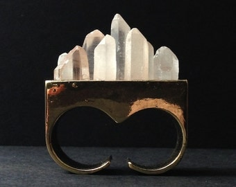 Sale - Quartz Crystal Overgrowth Knuckle Ring - Brass