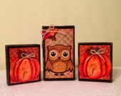 NEW Fall Shelf Setters Holiday Blocks Halloween Decor Thanksgiving Country Home Owls Pumpkins Handmade Home Fall Country  Housewarming Gift