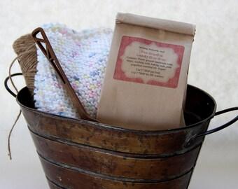 Laundry soap, pink grapefruit. Natural, vegan laundry soap made with cold process pink grapefruit soap. Choose one lb or three lb bag.
