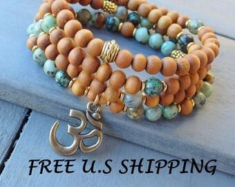108 Mala African Turquoise,Sandalwood. Buddha or Om pendant, Mala prayer Necklace or bracelet, Reiki, sandalwood mala, Om mala, buddha Mala