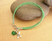 Green Awareness Bracelet (Cotton) Cerebral Palsy, Glaucoma, Kidney Disease, Liver Cancer, Organ Donation & More