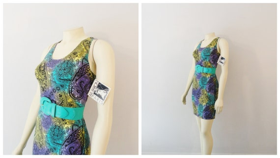 Vintage  Dress 80s 90s Bodycon Move Something Fitted Paisley Neon Dress Deadstock nwt Large