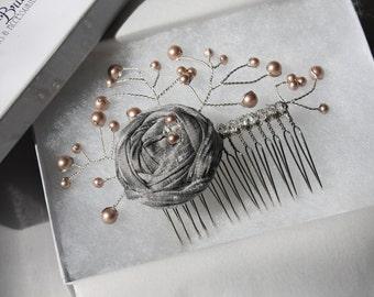 Bridal Hair Comb / Bridesmaid Hair Accessories - New 2014 'Simply Rosebud' Hair Piece - Bridal comb, Wedding hair comb, Bridesmaid Hair Comb