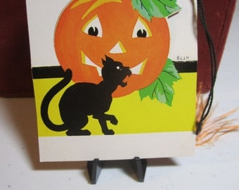 1930s-40's unused die cut art deco halloween bridge tally hissing black cat and jack o' lantern