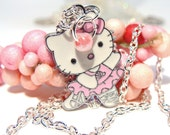 Cute Pink Kitty Ballerina Charm Necklace