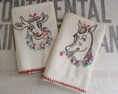 Vintage Homemade Flour Sack Towels Embroidered Horse and Cow