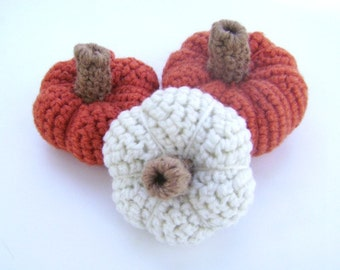 Crochet Pumpkins Squash Halloween Thanksgiving Fall Holiday Decoration Rustic Country Bowl Filler Shelf Sitter Ornament Accent Set of 3