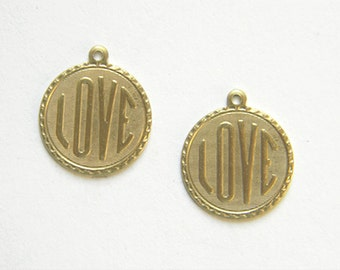 Raw Brass Love Charm, Bracelet Charm, Stamping 20m x 22mm - 4 pcs. (r280)