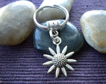Silver Sunflower  Keychain/Keyring