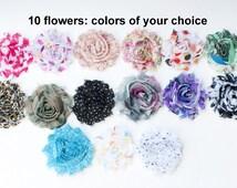 Printed Shabby Flowers - Chiffon Frayed Flowers - Fabric Flowers - Wholesale Fabric Flower Set - Your Choice of 10 Fabric Flowers - REGULAR
