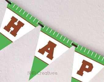 Football Happy Birthday Banner  - DIY Printable Digital File