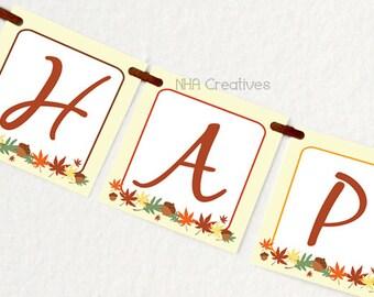 Happy Fall Y'all Banner - DIY Printable Digital File