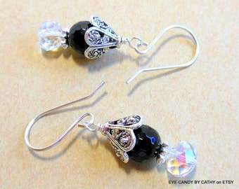 Black onyx, silver and crystal earrings          ITEM #1019