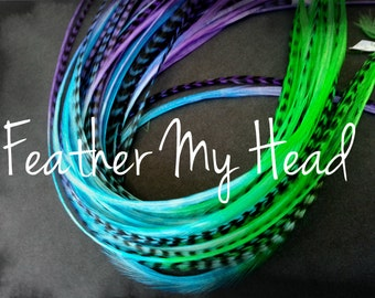 "10 Tie Dye Fade 2 Tone Multi Colored Feather Hair Extension 9""-12"" Long Grizzly And Solid Jelly Belly"