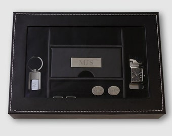 Engraved Personalized Mens Valet Watch Box  Groomsmen Father's Day Men's Gift For Him