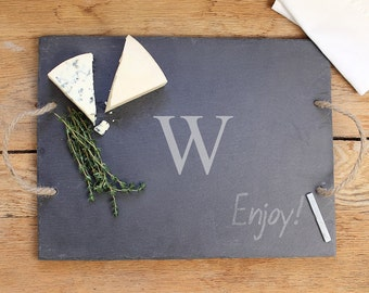 Personalized Slate Serving Board Monogram Chalk board Cheese Tray Wedding Housewarming Gift