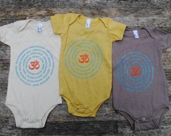 Organic Baby Mandala Bodysuit - Natural Creme Yoga Baby