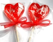 Brandied Cherry Heart Lollipops, I Love You Valentine, Favors, Gifts