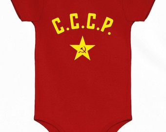 Baby CCCP One Piece - Soviet Star - Nb 6m 12m 18m 24m - Russia Baby - 3 Colors