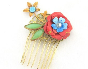 Vintage haircomb with red flower
