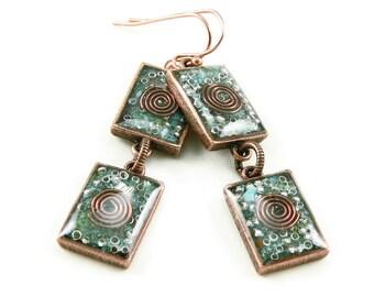 Orgone Energy Earrings - Turquoise and Copper Gemstone Dangle Earrings - Geometric Rectangle Earrings - Positive Energy - Artisan Jewelry
