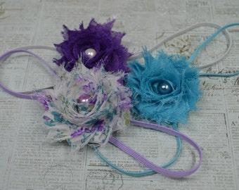 Shabby Headband Set...Baby Girl Headbands...Flower Headbands...Infant Headbands...Rosette Headbands...Photography Props...Set of Headbands