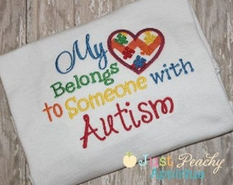 Autism Heart Saying Machine Embroidery Applique Design Buy 2 for 4! Use Coupon Code 50OFF