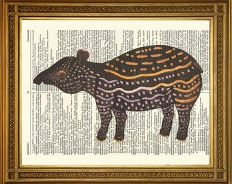 "TAPIR ANIMAL PRINT: Antique Dictionary Book Page, Vintage Art Illustration (8 x 10"")"