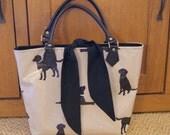 handmade oil cloth bag - tote bag - handbag