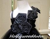 black flower girl tutu dress