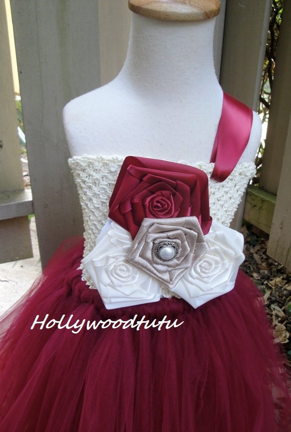 Burgundy ivory flower girl tutu dress