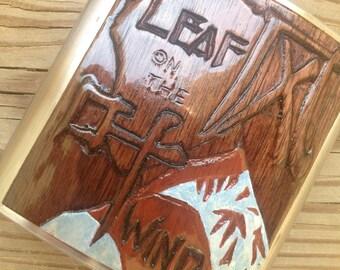 Hand-Carved Wash Flask - Leaf on The Wind