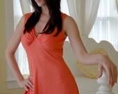 Vintage 60s Coral Maxi Dress Halter Style Long Boho Dress