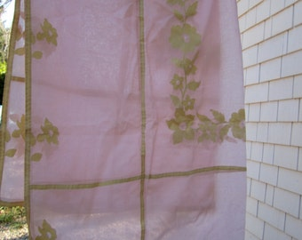 Applique Tablecloth Soft sheer Pink Vintage Organdy with Floral Detail  Shower Reception Bridal Large  Rectangular Tablecloth