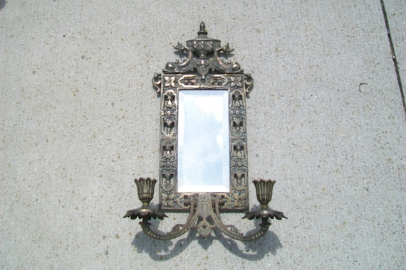 Bronze Wall Mirror: Vintage Victorian Era Bronze Wall Mirror With By Pastmoonshome