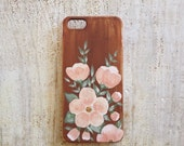 Painted wood with pink flowers iPhone 5 or 5s Case