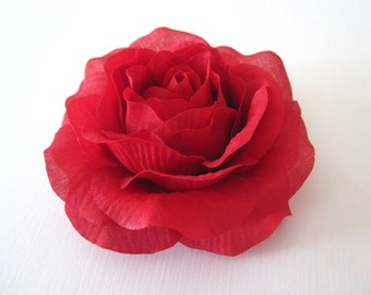 Fabric Flower Hair Clip, Brooch, or Pin - Red Rose